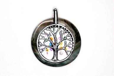 """Anhänger """"Baum des Lebens"""" mit Perlmuttscheibe & Grid"""