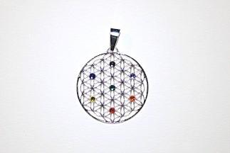 """Anhänger """"Blume des Lebens"""" mit Chakra-Steinen"""